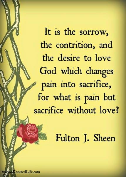 pain plus love is sacrifice