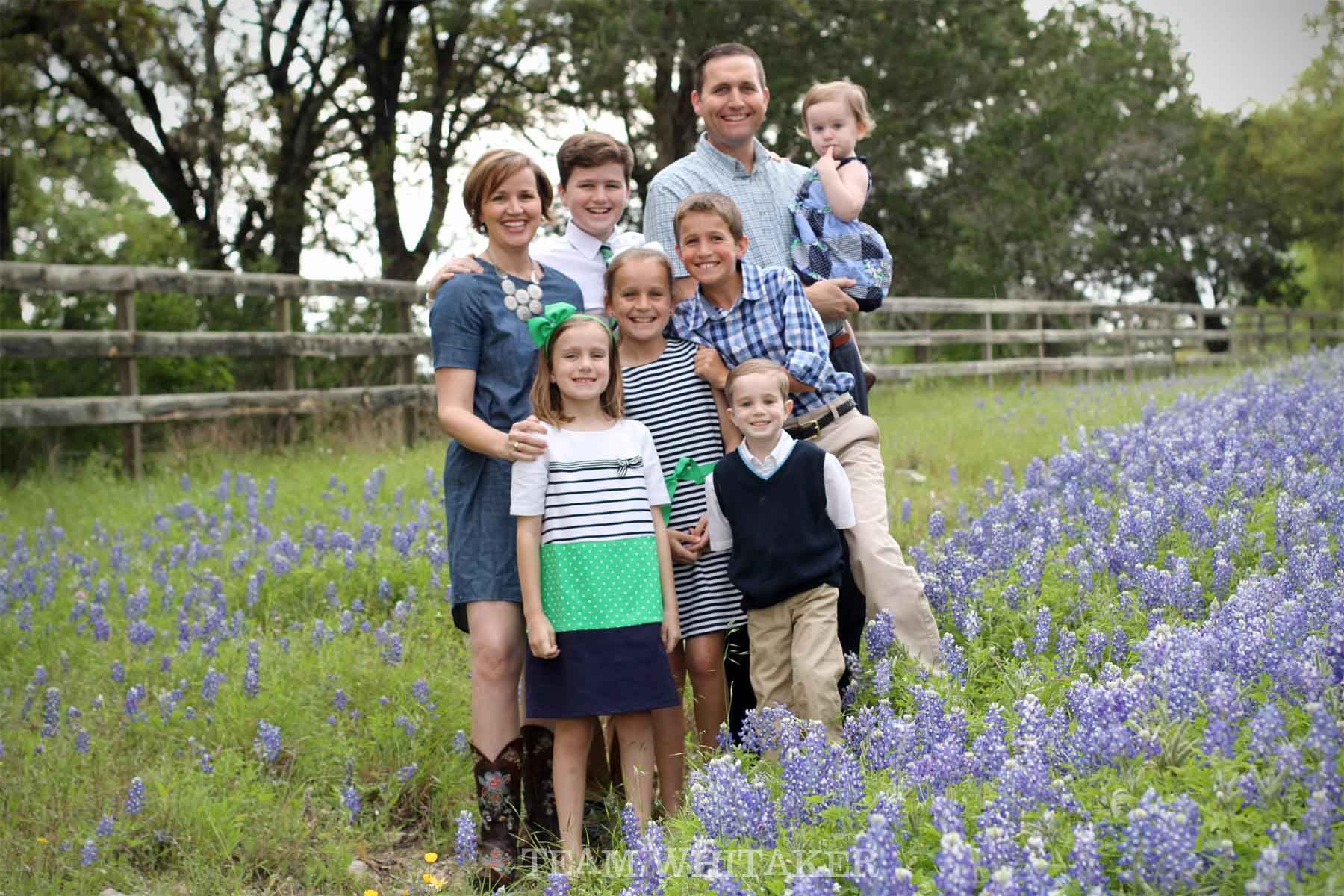 "A sure-fire way to get the ""perfect"" family photo in the Texas bluebonnets."